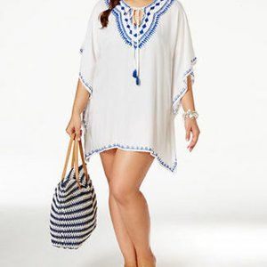 Raviya White Blue Embroidered Peasant Cover Up